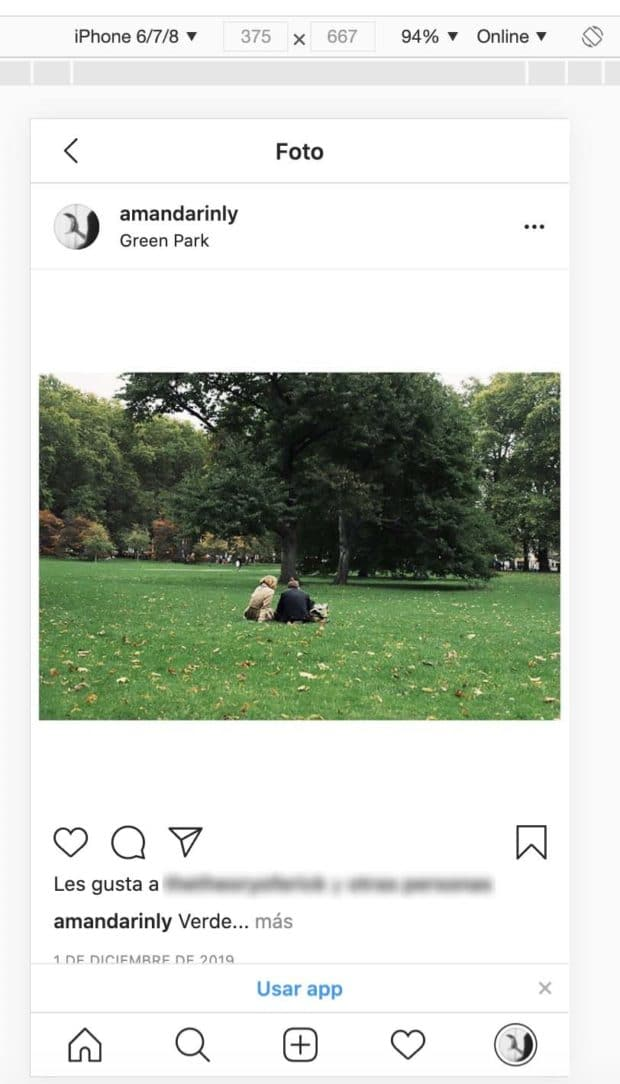 Interfaz móvil de Instagram en la computadora