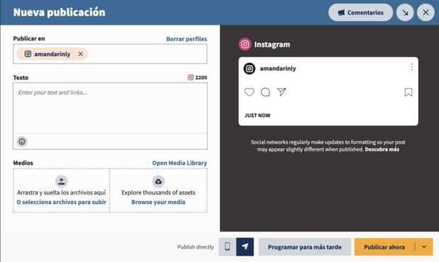 Seleccionar una cuenta de Instagram para publicar en Hootsuite