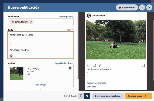 Botón de Nueva publicación en Hootsuite (y también Programar para más tarde
