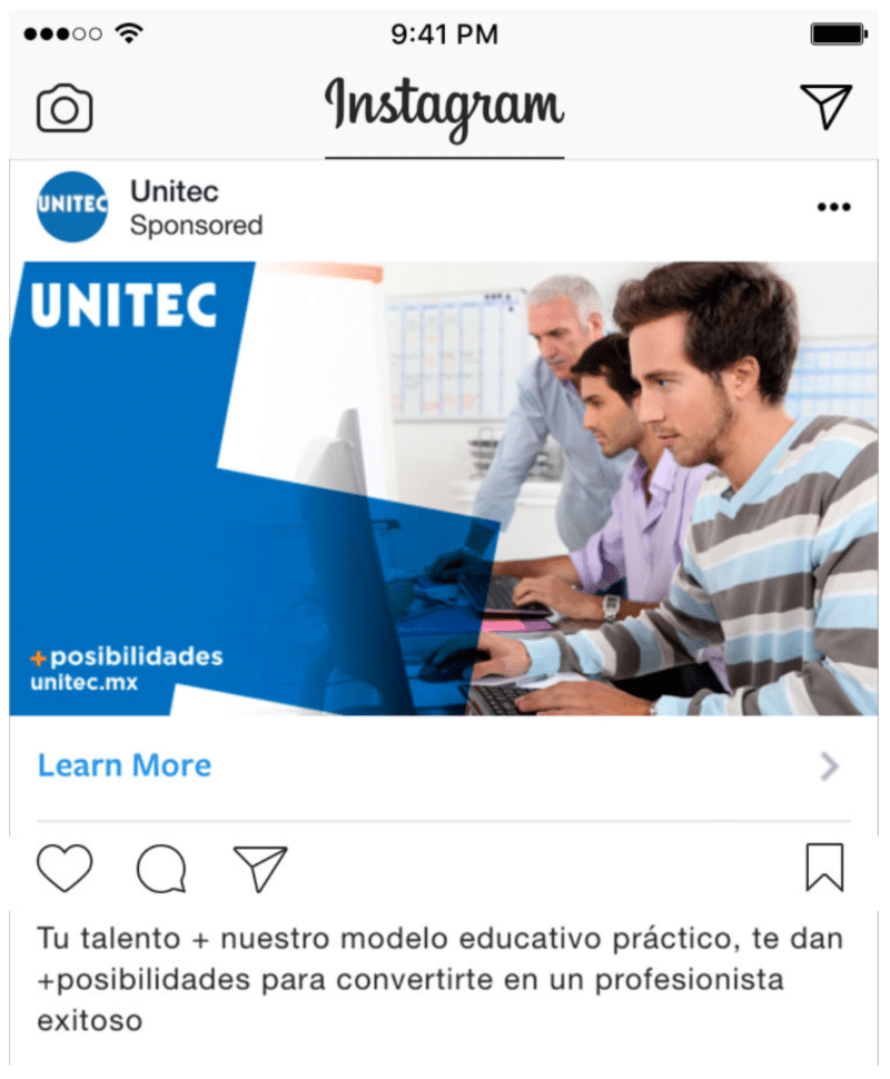 Technological University of Mexico social media advertising