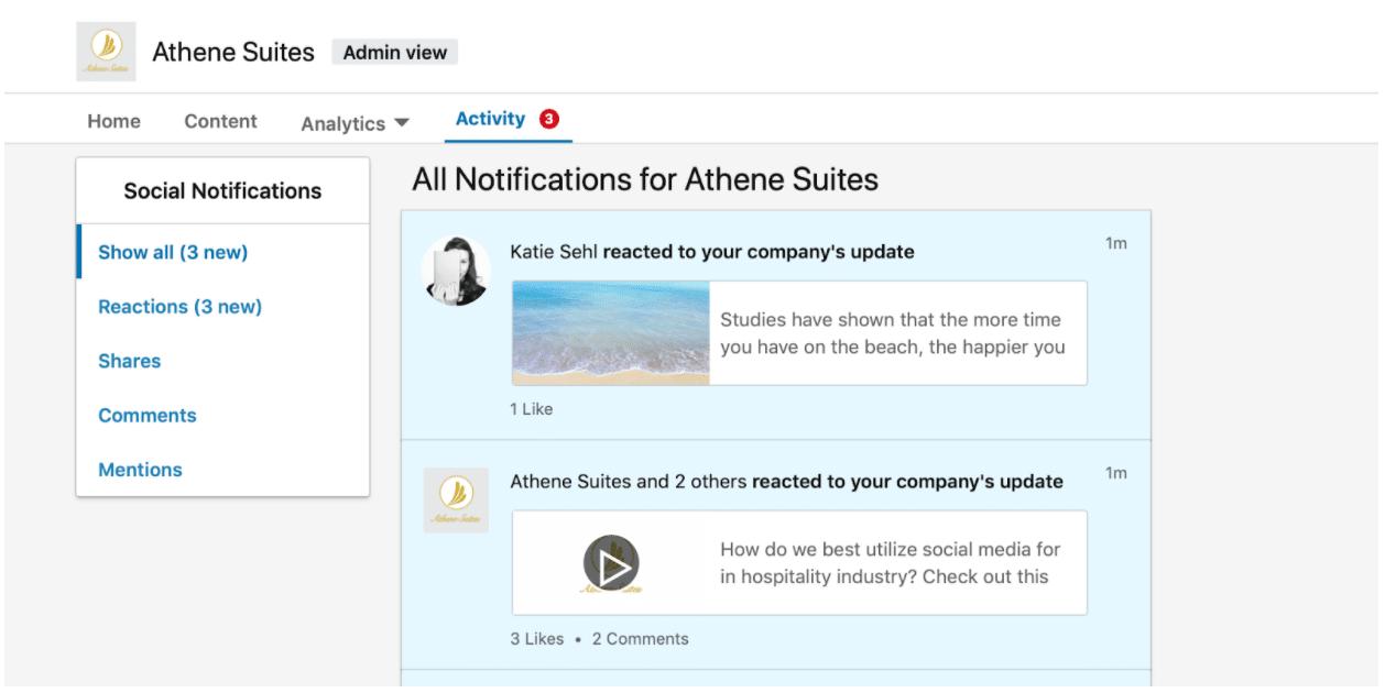 Linkedin Athene Suites Activity Dashboard