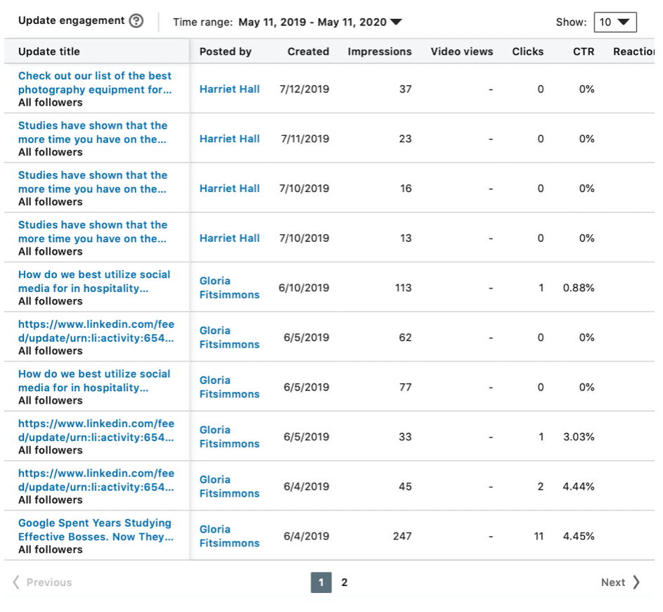 Update analytics clicks