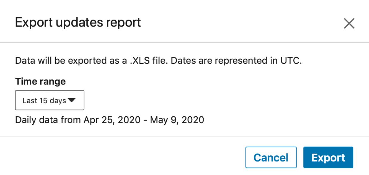 Export LinkedIn analytics
