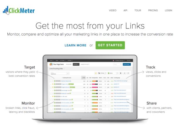 Page d'accueil de ClickMeter