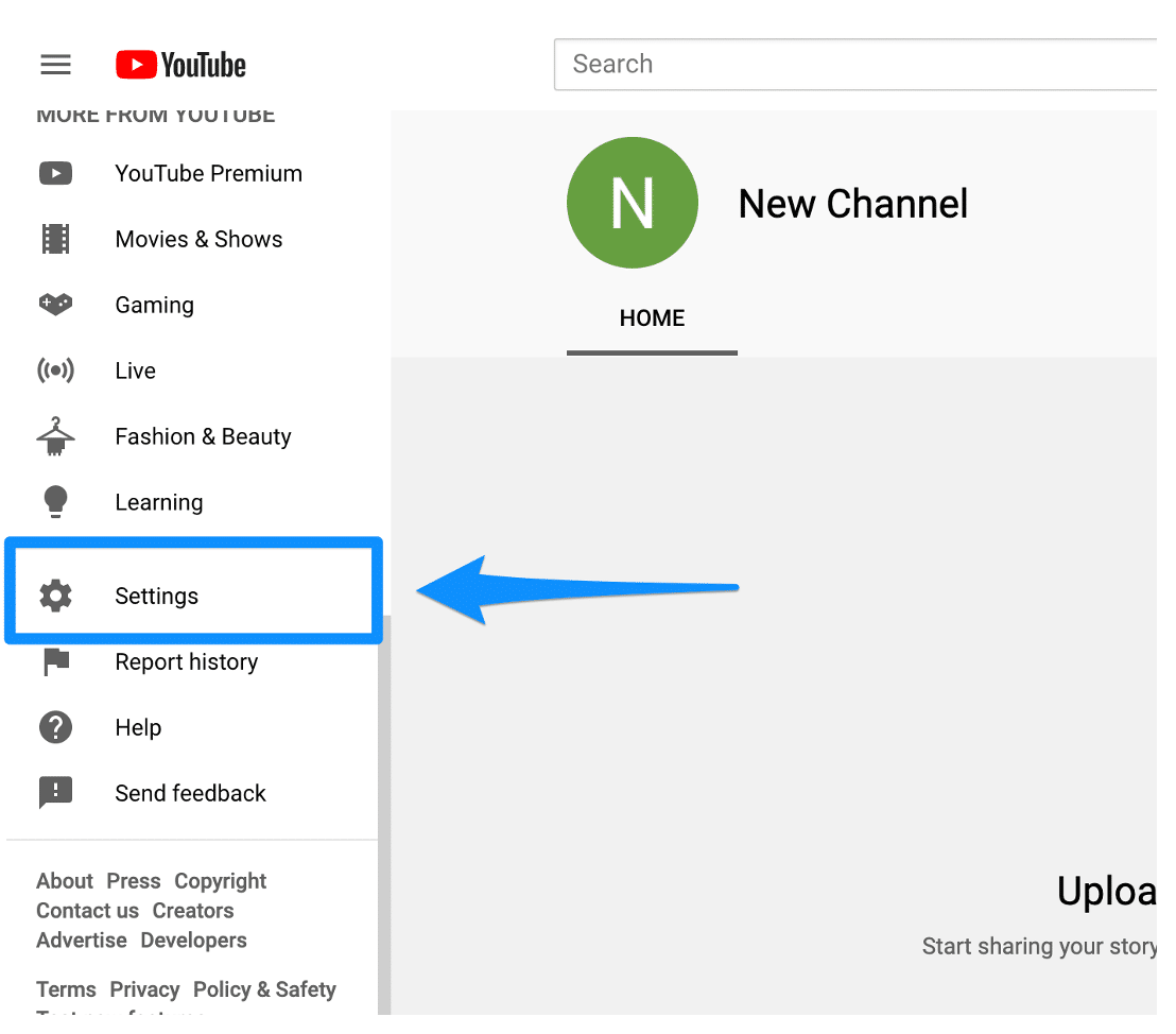 YouTube settings left side bar