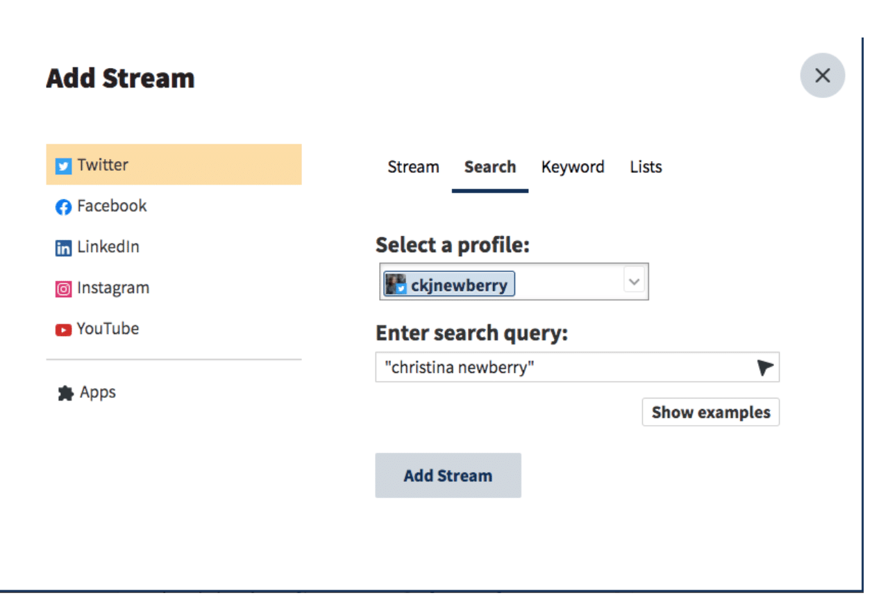 Hootsuite dashboard add stream