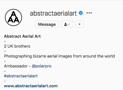 Abstract Aerial Art Instagram bio