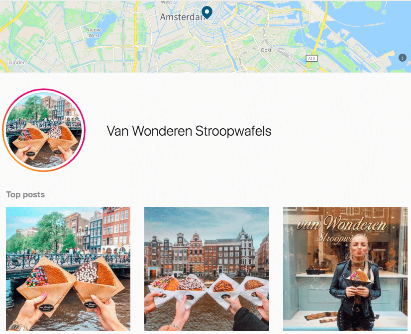 Amsterdam location tag page on Instagram with top posts