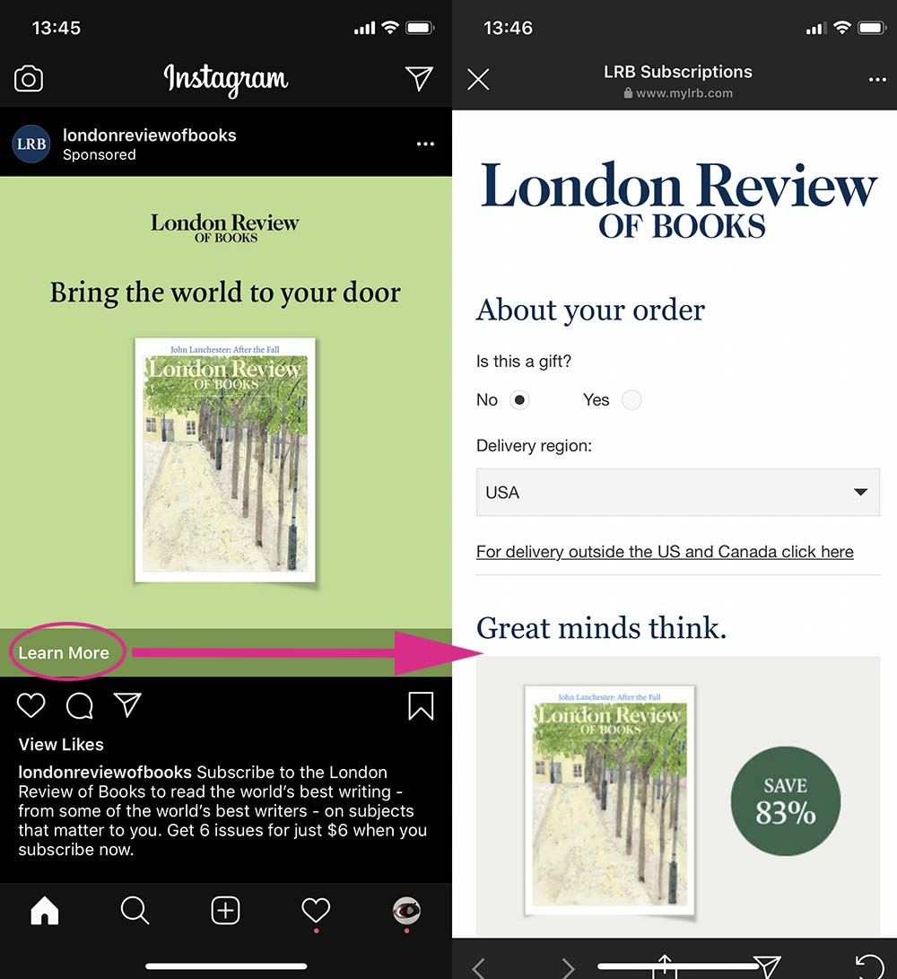 London review of books paid ad