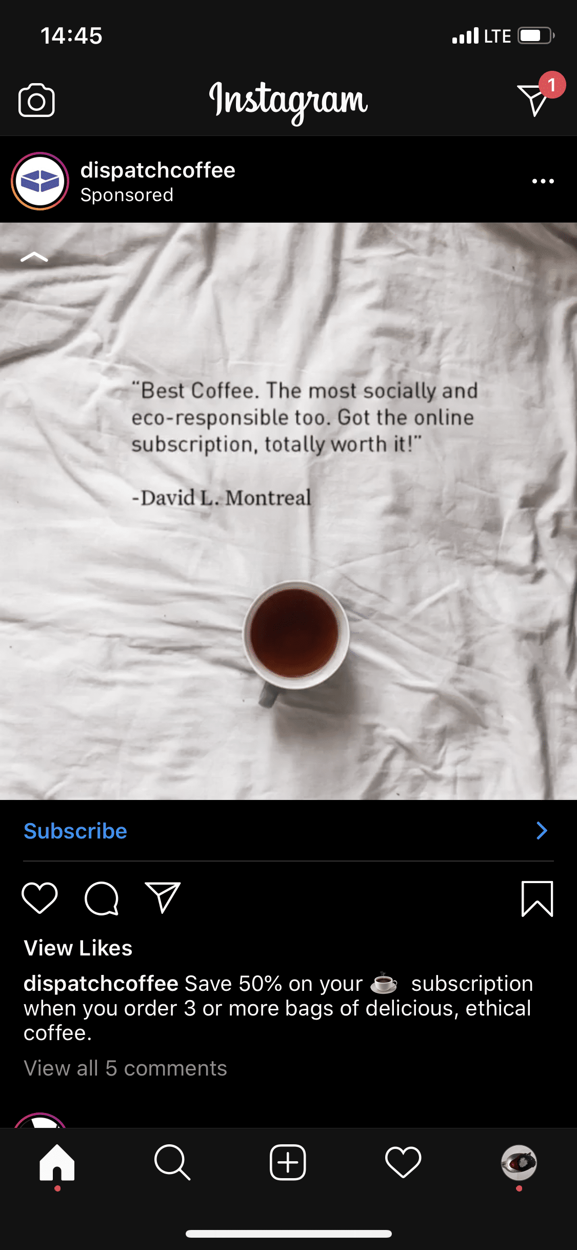 Dispatch Coffee Instagram paid ad