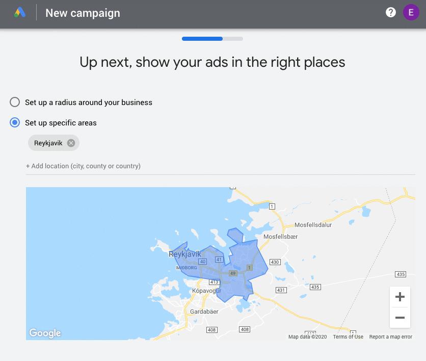 Google Ads location set-up