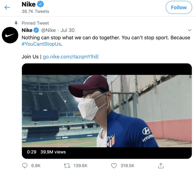 Nike optimized Twitter profile