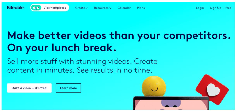 Biteable Facebook video ad creator
