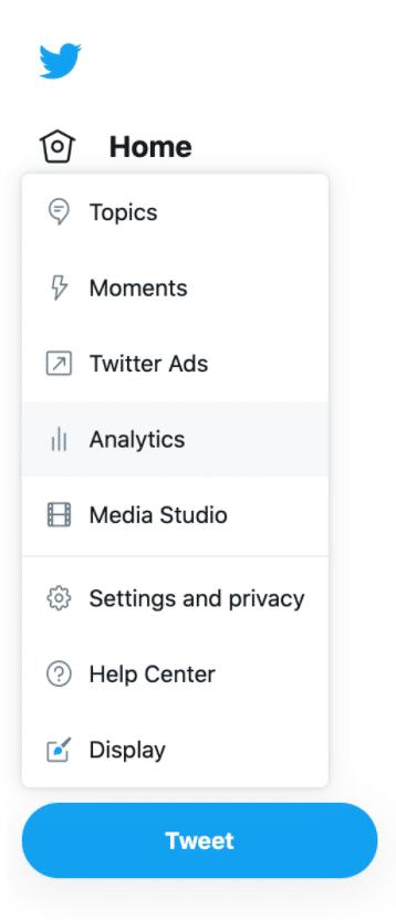 Twitter menu analytics button