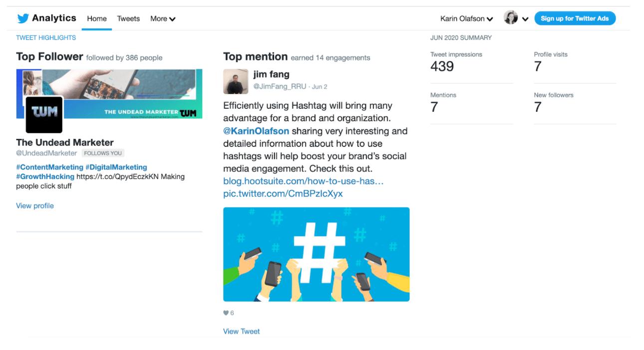 Twitter analytics home dashboard