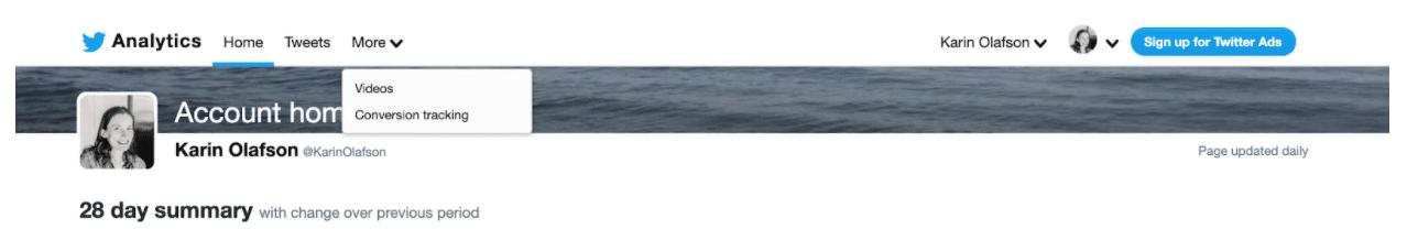 More menu bar Video to analyze metrics on published videos