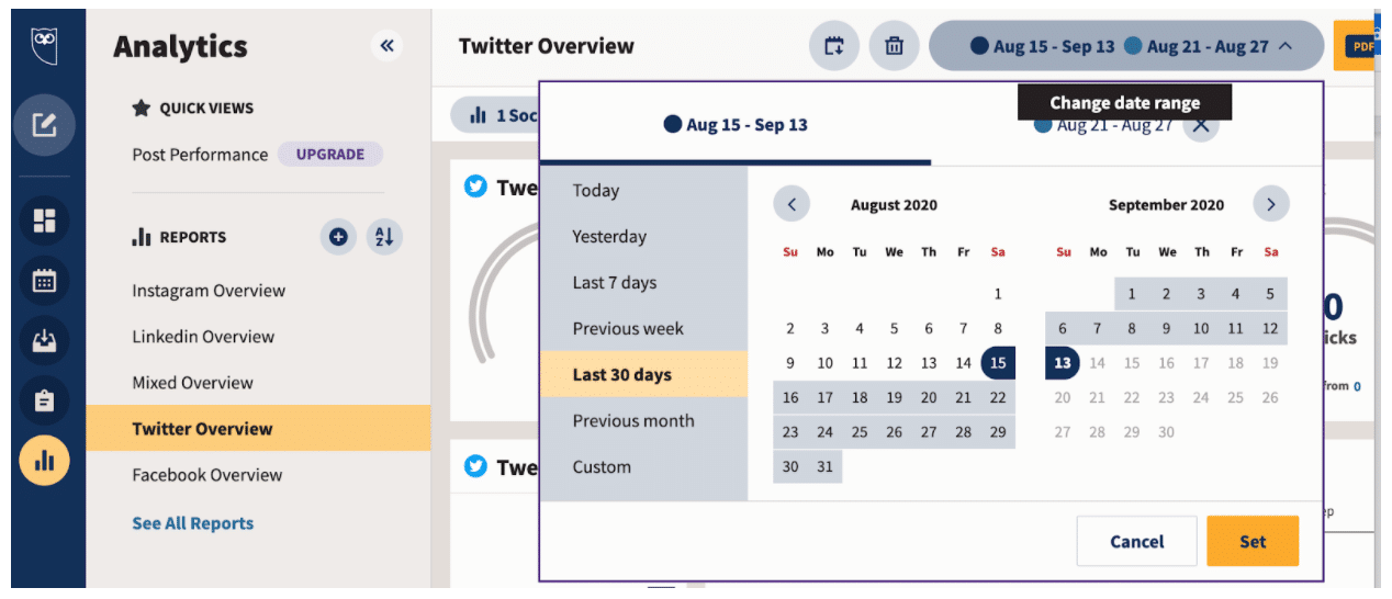 Analytics report template preferred date range