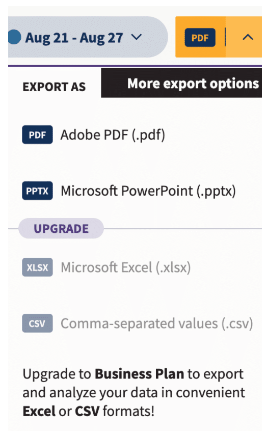 Yellow arrow to export Analytics report
