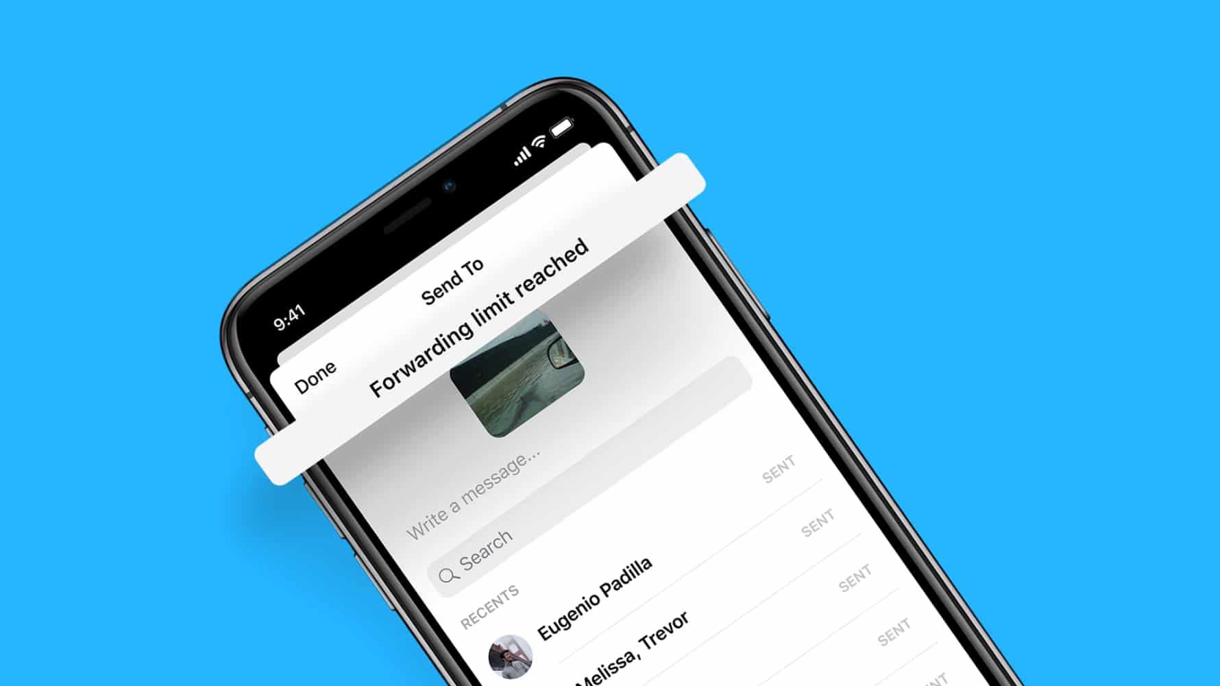 Forwarding limit Facebook Messenger