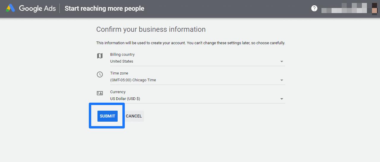 حساب Google Ads اطلاعات کسب و کار را تأیید می کند