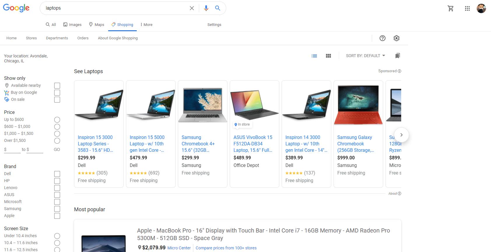 نتایج جستجوی تبلیغات گوگل