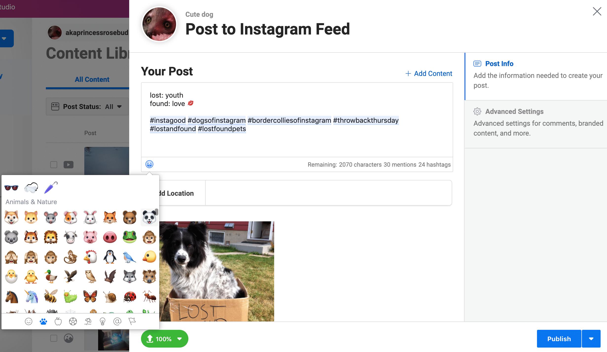 Using Creator Studio to schedule Instagram posts: Emoji options