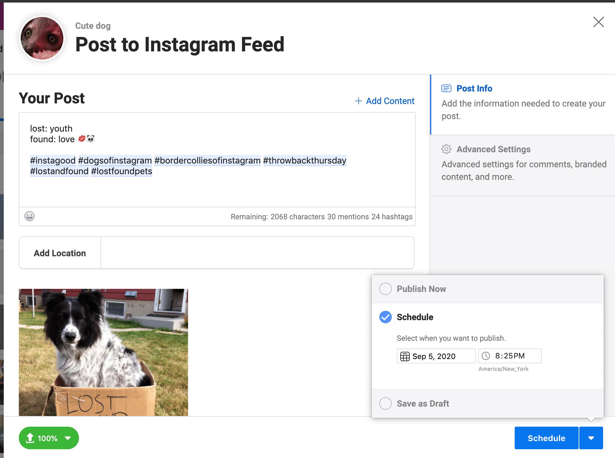 Schedule Instagram posts on Creator Studio