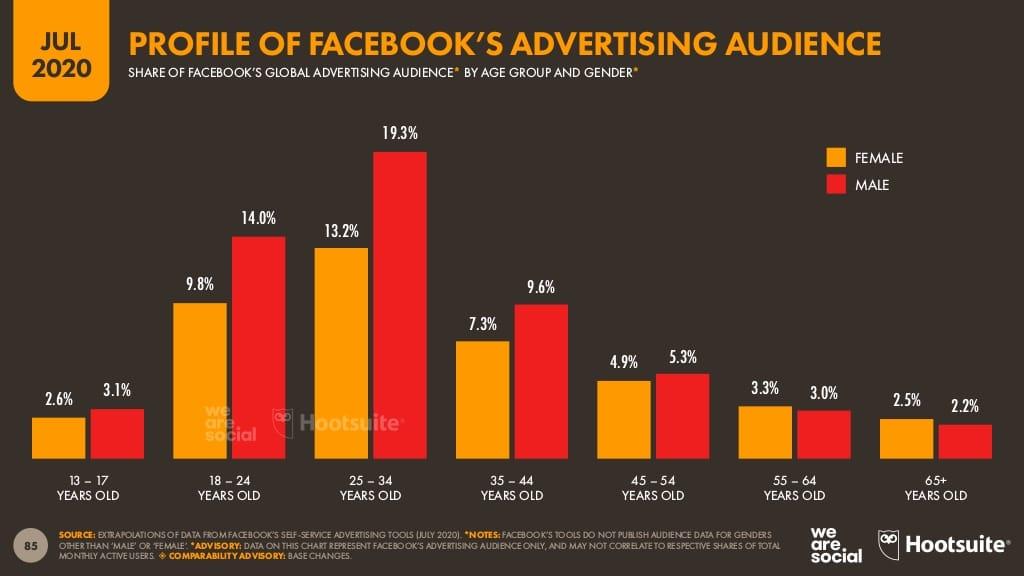 rapport Digital 2020 Hootsuite, public visé par la publicité sur Facebook