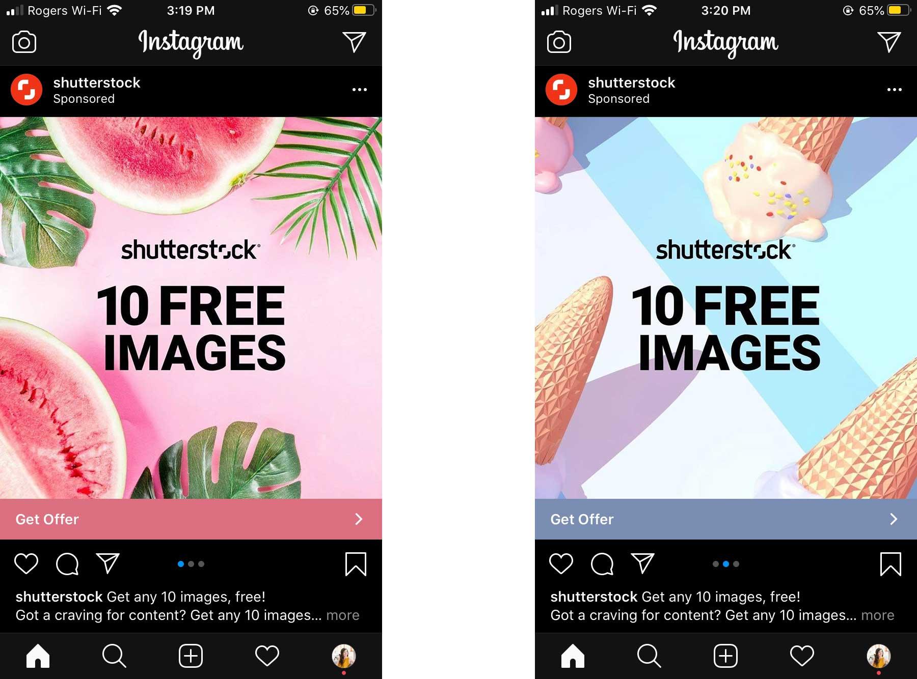 publicités carrousel sur Instagram