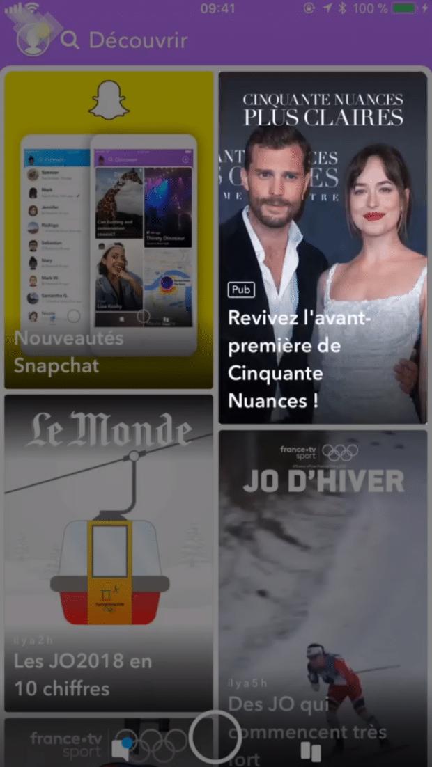 publicités Stories sur Snapchat