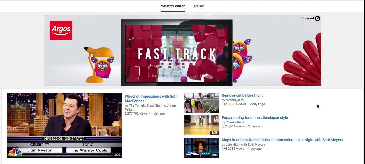 YouTube masthead ads