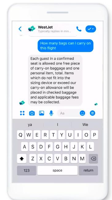 WestJet Facebook Messenger chatbot