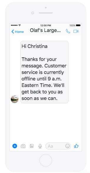 Facebook Away Messaging