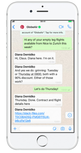 GlobeAir WhatsApp messaging