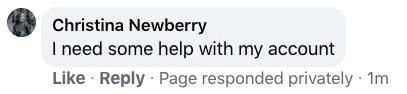 """""""Seite hat privat geantwortet""""-Anmerkung auf Facebook"""
