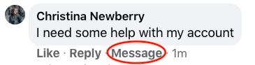 Facebook-Nachricht-Button für private Konversationen