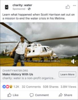 water Facebook ad Scott Harrison