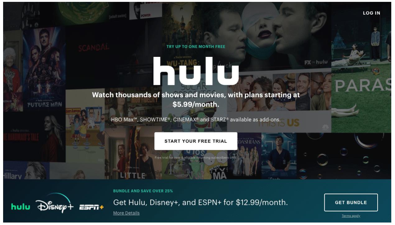 Hulu Landing Page CTA