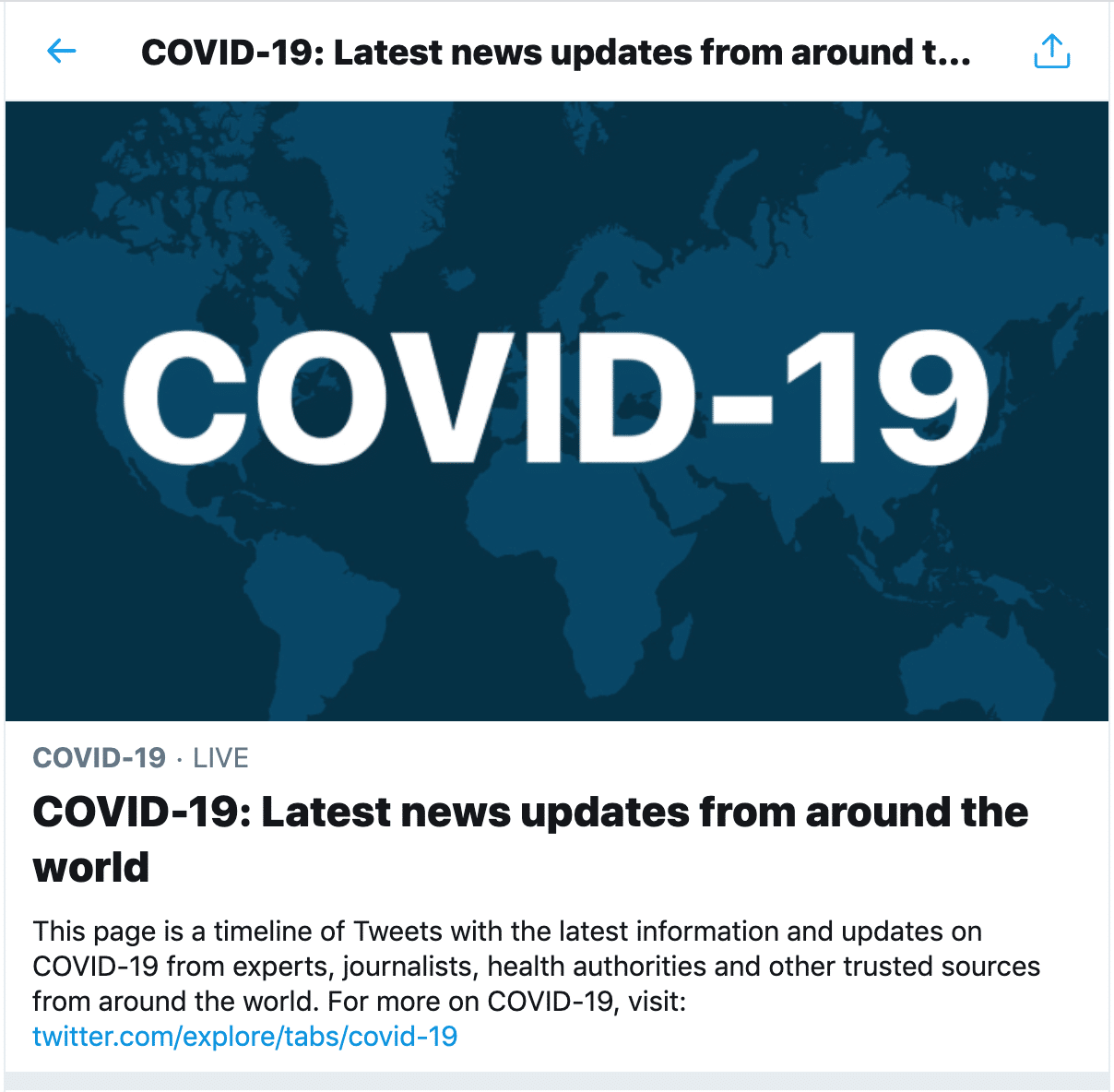 COVID 19 update page