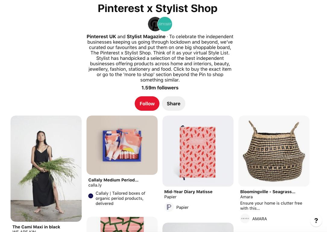 Pinterest x Stylist Magazine shop