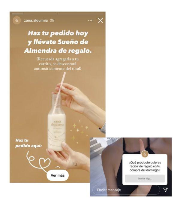 Historias de Zäna Alquimia con un sticker de encuesta