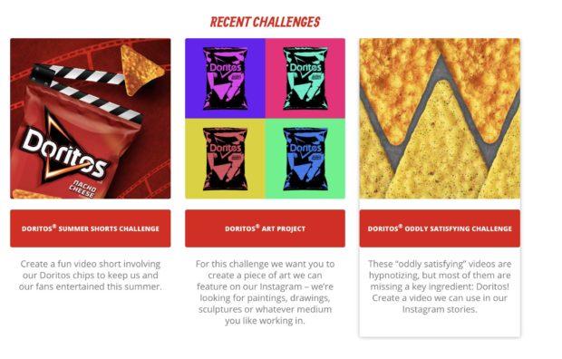 Retos creativos del sitio web de Doritos Legion of the Bold.
