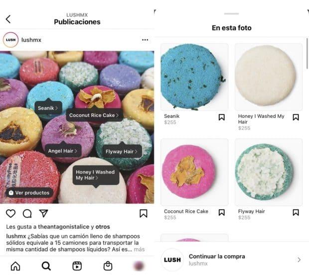 Interfaz del menú de compras en Instagram de LushMX