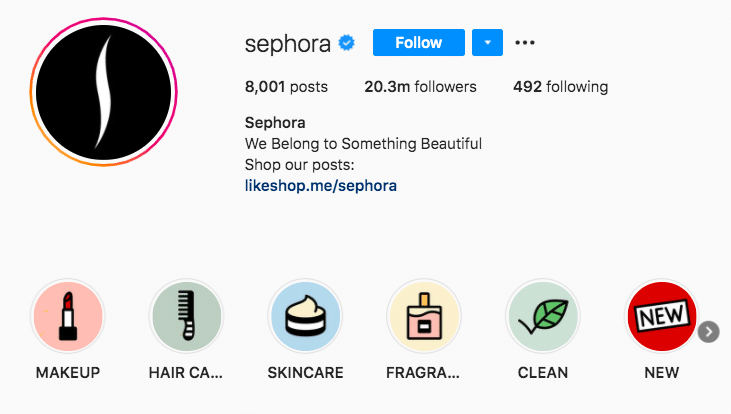 Sephora Stories highlight albums