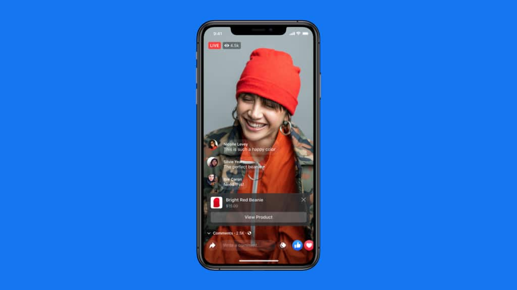 Instagram Live Shopping stream selling a red beanie