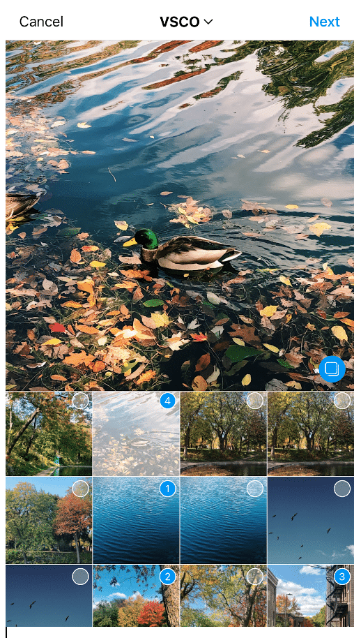 Select up to 10 photos or videos in order of appearance