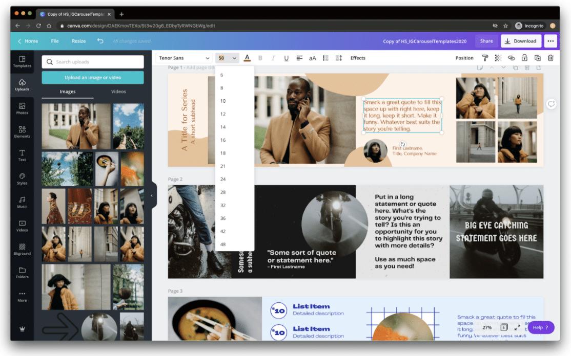 Cambia el cuadro de texto y las opciones de formato en Canva