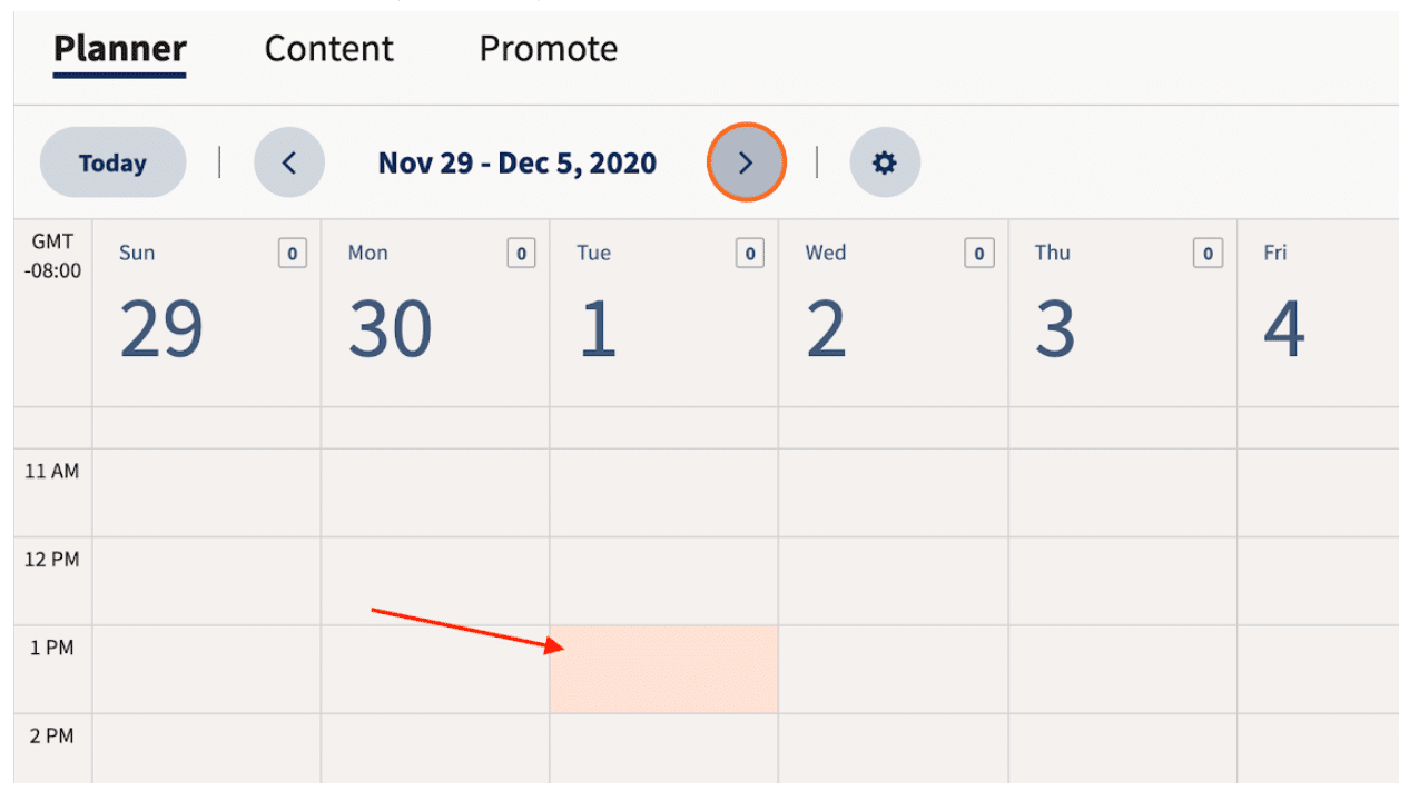 Select when to post to all social media on Hootsuite planner