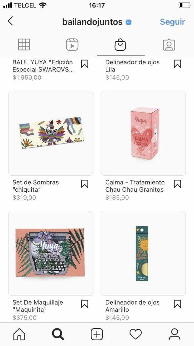 Captura de pantalla de la interfaz de compras del Instagram de Bailando Juntos