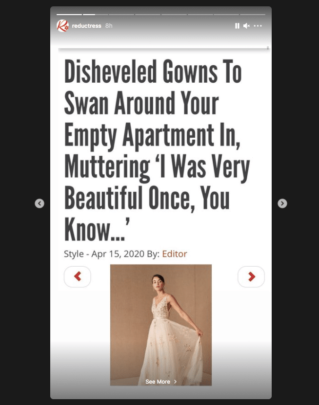 Satirical news site Reductress shares headlines via posts and stories